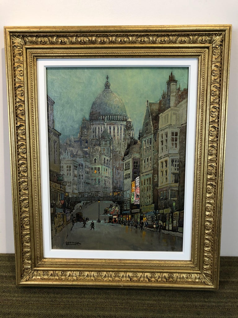 St Pauls and Ludgate Hill - Oil Painting, London Townscape by Godwin Bennett For Sale 1