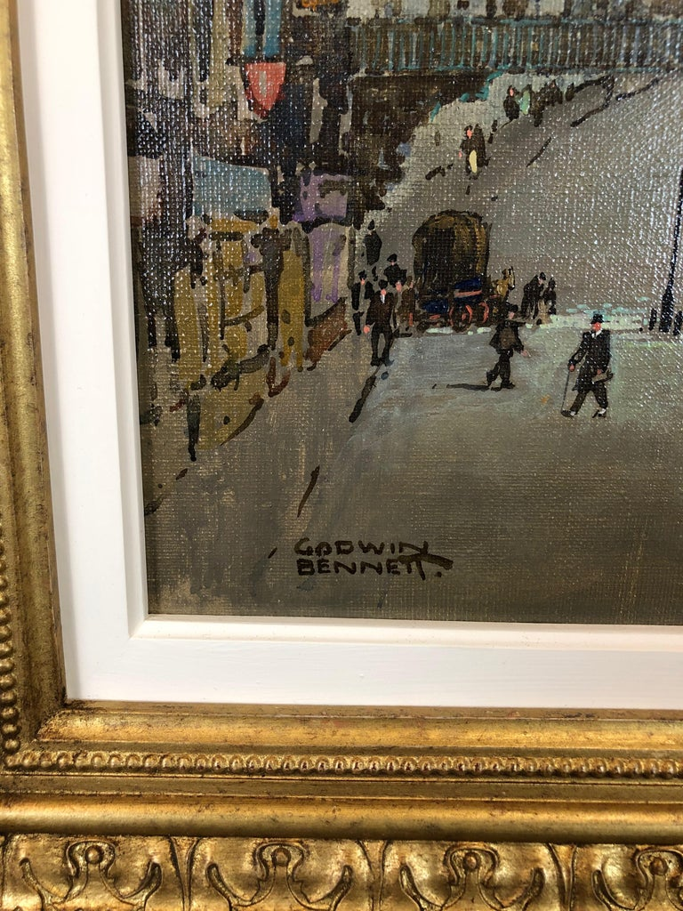 St Pauls and Ludgate Hill - Oil Painting, London Townscape by Godwin Bennett For Sale 2