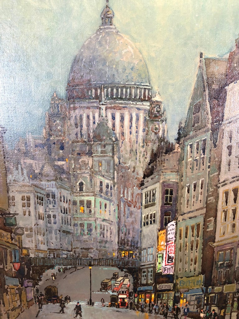 St Pauls and Ludgate Hill - Oil Painting, London Townscape by Godwin Bennett For Sale 3