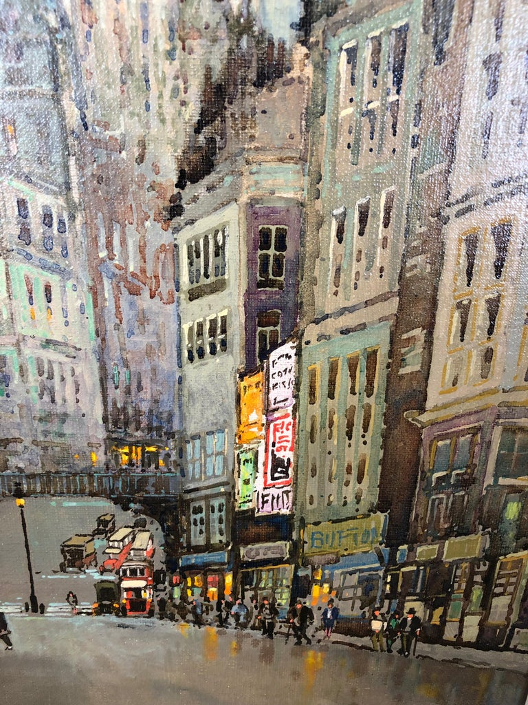 St Pauls and Ludgate Hill - Oil Painting, London Townscape by Godwin Bennett For Sale 4