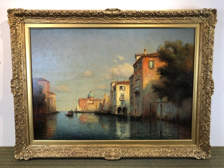 Venice, Evening - Oil on Canvas, Landscape Painting, Mid-20th Century, Bouvard For Sale 1