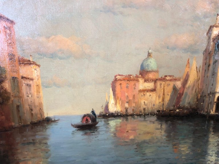 Venice, Evening - Oil on Canvas, Landscape Painting, Mid-20th Century, Bouvard For Sale 2