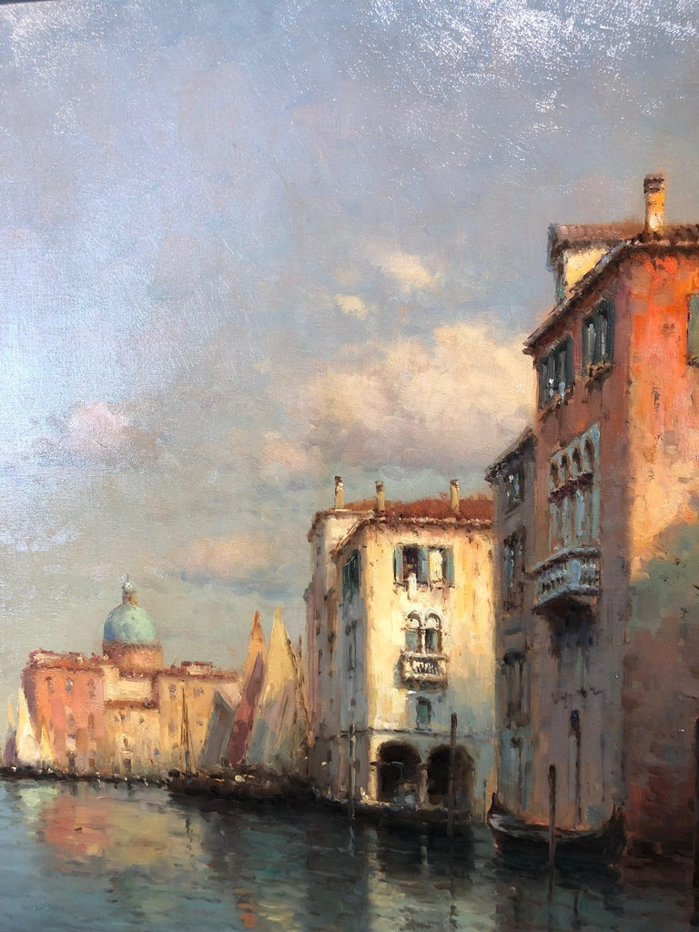 Venice, Evening - Oil on Canvas, Landscape Painting, Mid-20th Century, Bouvard For Sale 3