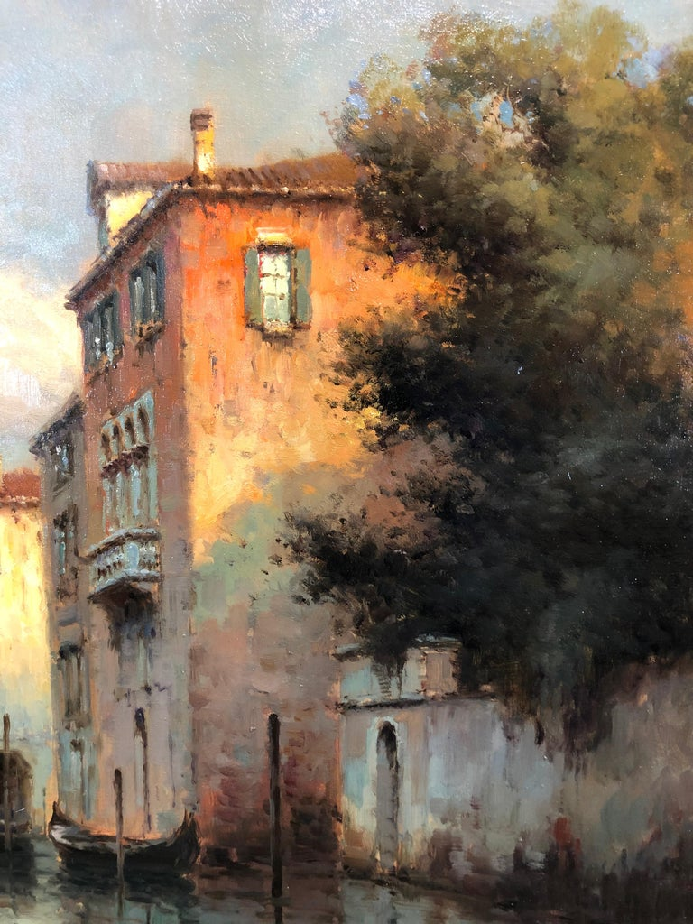 Venice, Evening - Oil on Canvas, Landscape Painting, Mid-20th Century, Bouvard For Sale 4