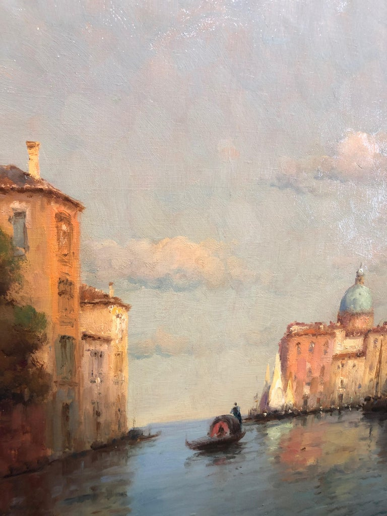 Venice, Evening - Oil on Canvas, Landscape Painting, Mid-20th Century, Bouvard For Sale 6