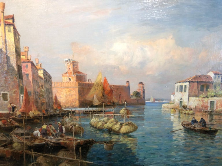 Canal San Pietro, Pont du Guerre, Back of the Arsenal, Venice - Impressionist Painting by Gaston Roullet