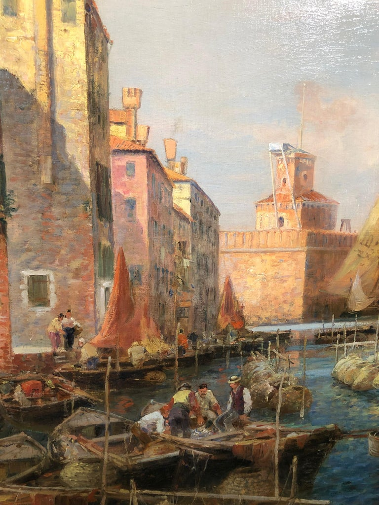 Canal San Pietro, Pont du Guerre, Back of the Arsenal, Venice - Gray Landscape Painting by Gaston Roullet