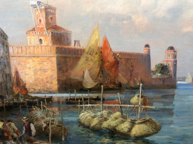 Gaston Roullet, S.W.A, 1847-1925 was born in Charente France and studied with Jules Noel. He began exhibiting at the Paris Salon in 1874 when he became Official Maritime painter. In 1895 he made Chevalier de la legion d'honneur.