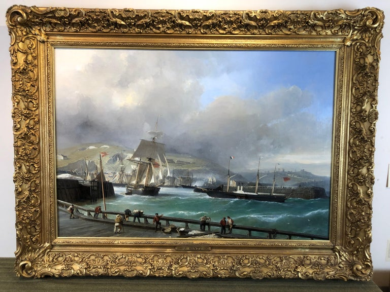 A Breezy Day Off Dover Harbour - Large Oil Painting, seascape by Julius Hintz For Sale 1