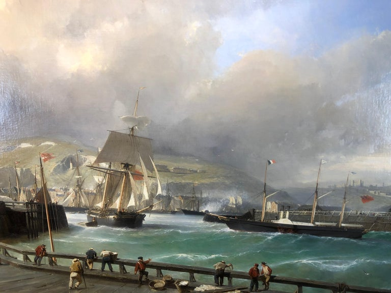 A Breezy Day Off Dover Harbour - Large Oil Painting, seascape by Julius Hintz For Sale 2