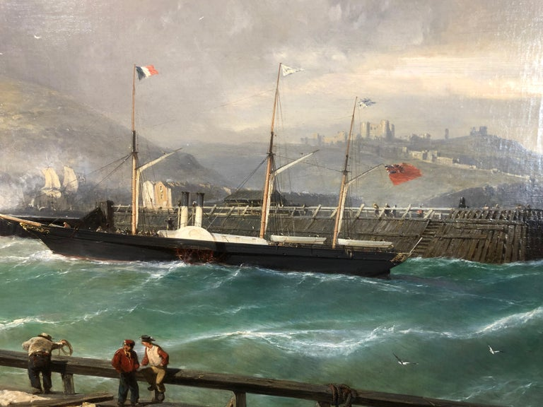 A Breezy Day Off Dover Harbour - Large Oil Painting, seascape by Julius Hintz For Sale 3