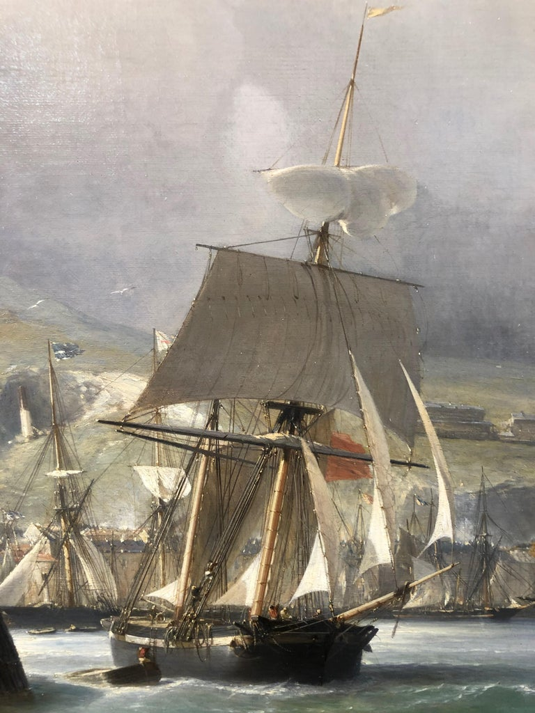 A Breezy Day Off Dover Harbour - Large Oil Painting, seascape by Julius Hintz For Sale 6