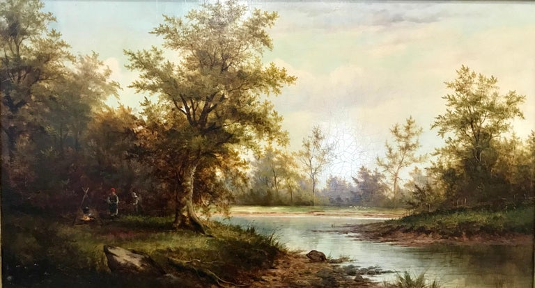 Woodland Camp By A River -  Landscape Oil Painting on Canvas By John Westall - Beige Landscape Painting by John Westall