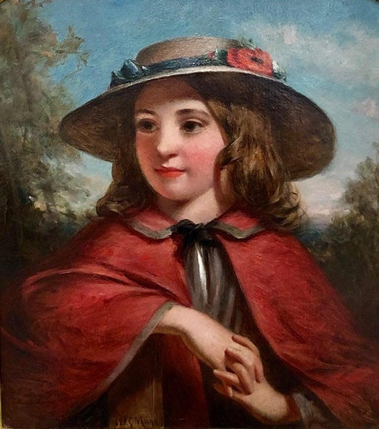 Joshua Hargrave Sams Mann Portrait Painting - Little Red Riding Hood - Literary Portrait Oil Painting by J.H.S.Mann