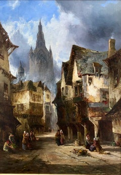A Street In Dinan - Townscape Oil Painting By Alfred Montague