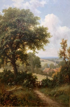 A View Near Wilmington, East Sussex - Large Landscape Oil Painting by R. Fenson