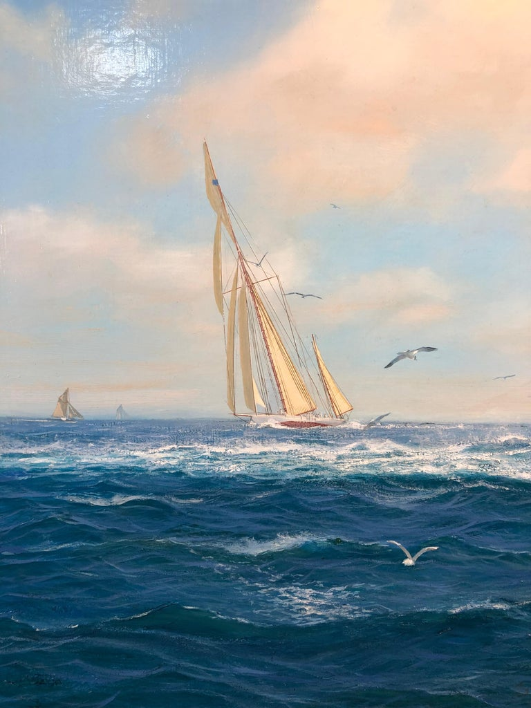 Adela In Close Quarters Racing With Adversary Cowes,  Oil J Class Americas Cup - Aesthetic Movement Painting by Shane Couch