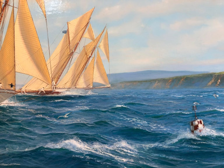 Shane Michael Couch is a highly regarded painter of atmospheric maritime scenes, especially of the Americas Cup and J Class Yachts. This particular seascape is of Adela In Close Quarters Racing With  An Adversary Off Cowes in 1905. These yachts are