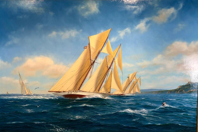 Shane Couch Landscape Painting - Adela In Close Quarters Racing With Adversary Cowes,  Oil J Class Americas Cup