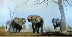 An Imposing Herd - Oil Painting On Canvas, Safari Landscape by Anthony Gibbs