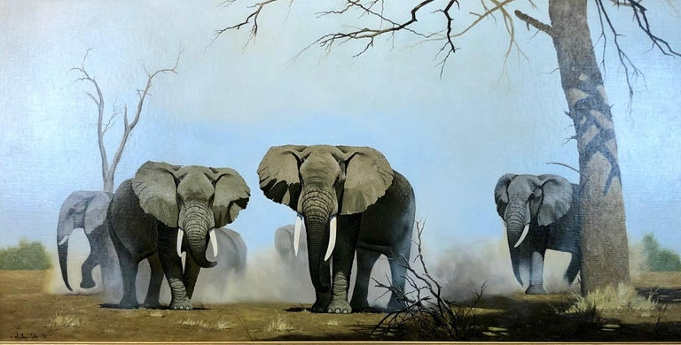 An Imposing Herd - Oil Painting On Canvas, Safari Landscape by Anthony Gibbs For Sale 8