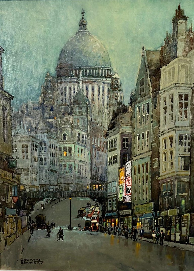 Charming London Townscape Of Ludgate Hill leading up to St Pauls Cathedral in which the artist has managed to capture both the fun and general busy London atmosphere. Godwin Bennett 1888-1950 was a Brighton born painter and art dealer who enjoyed