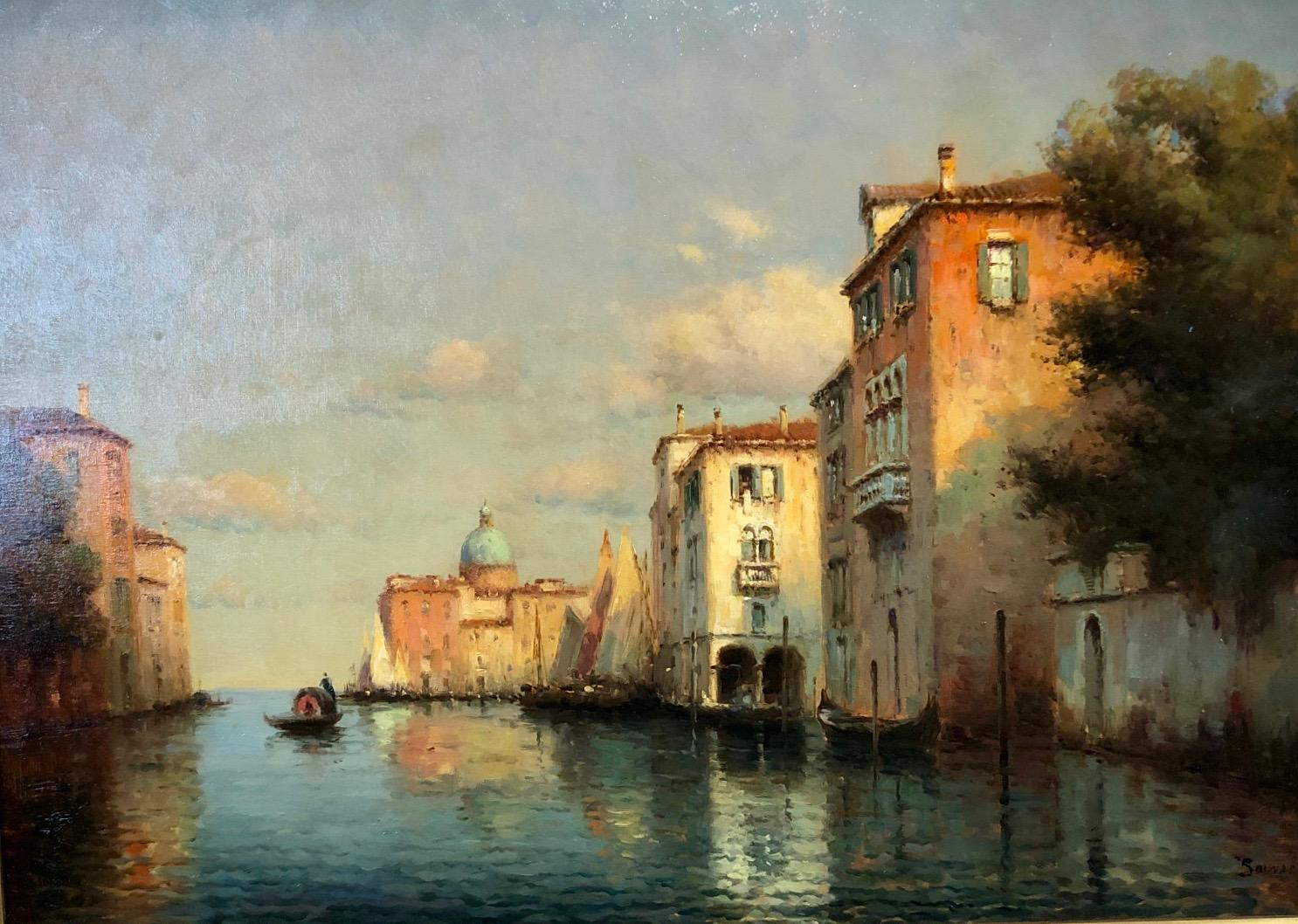 Venice, Evening - Oil on Canvas, Landscape Painting, Mid-20th Century, Bouvard