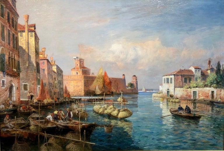 Gaston Roullet Landscape Painting - Canal San Pietro, Pont du Guerre, Back of the Arsenal, Venice