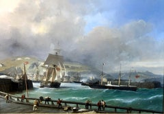 A Breezy Day Off Dover Harbour - Large Oil Painting, seascape by Julius Hintz