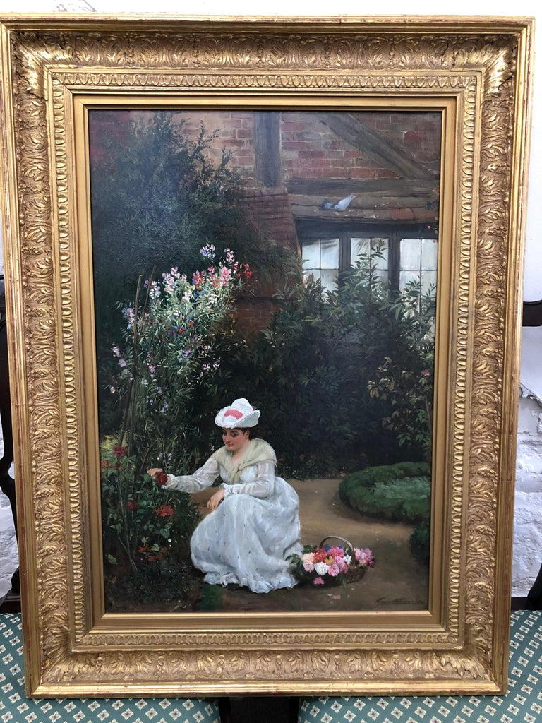 Gathering Roses - Oil Painting by John Haynes Williams For Sale 1