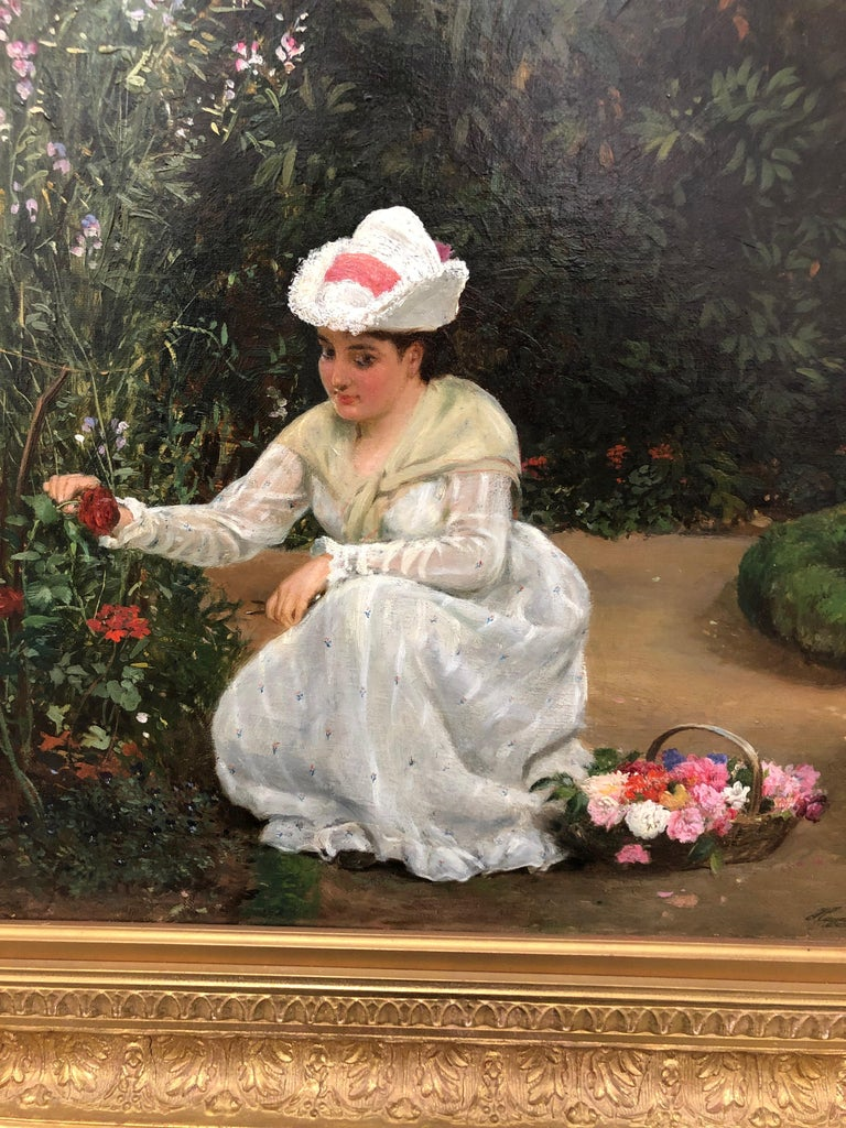 Gathering Roses - Oil Painting by John Haynes Williams For Sale 3