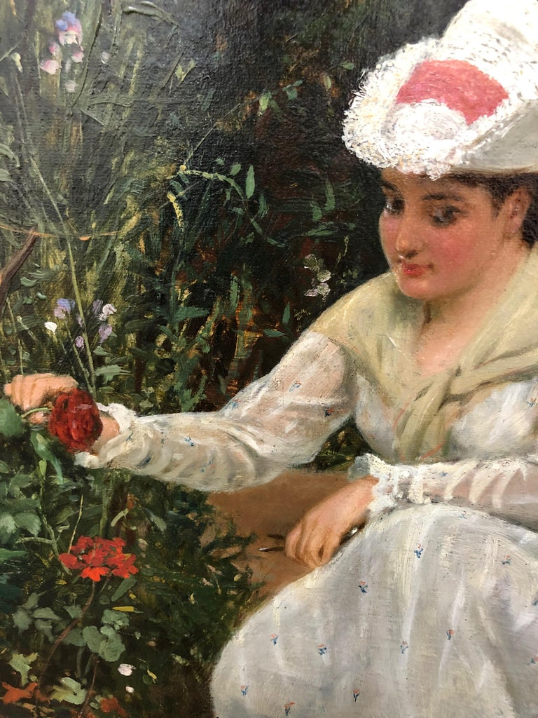 Gathering Roses - Oil Painting by John Haynes Williams For Sale 5