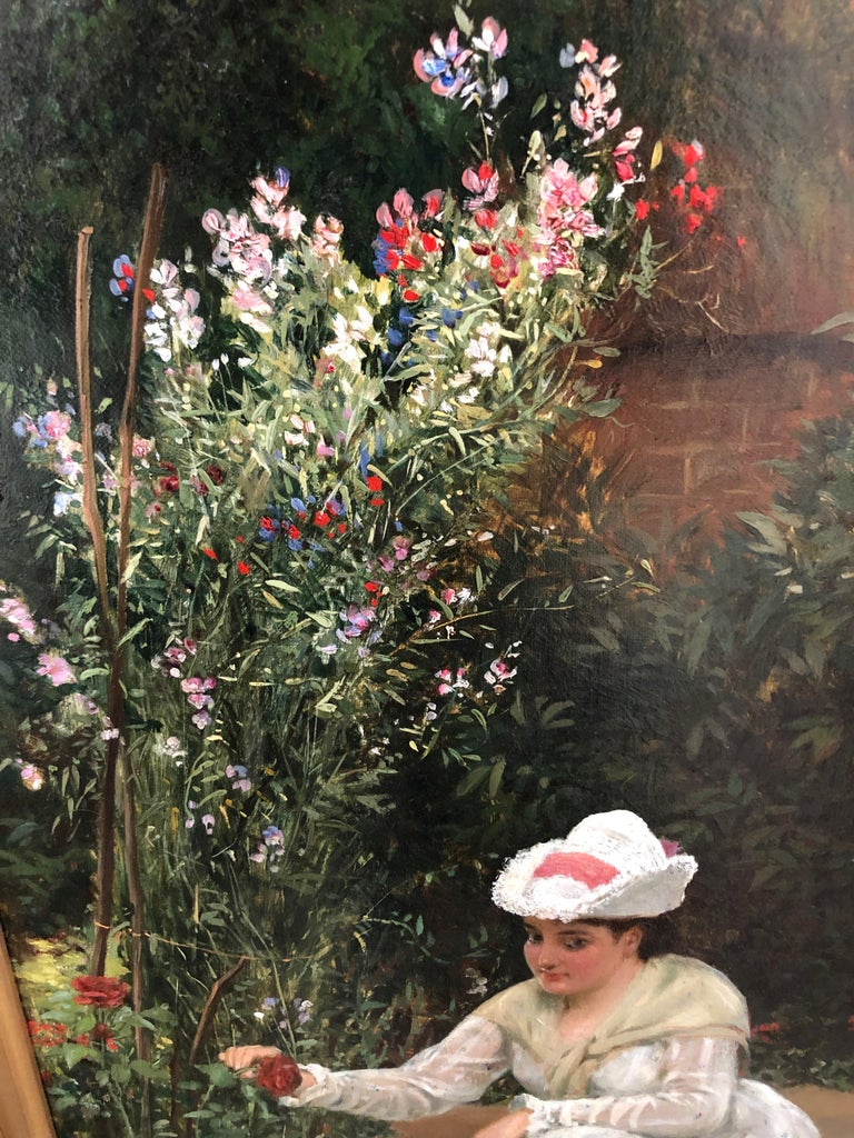 Gathering Roses - Oil Painting by John Haynes Williams For Sale 6