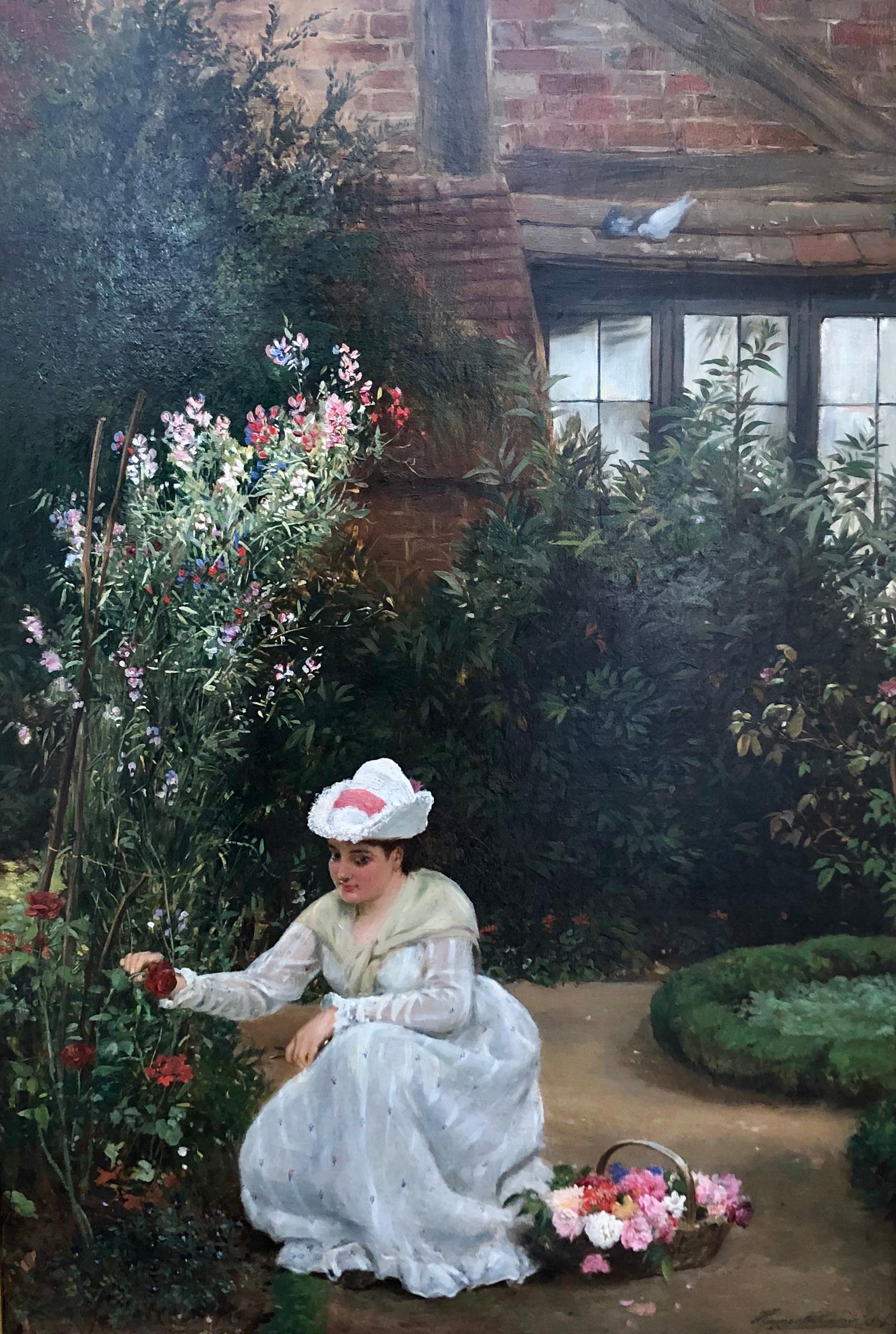 Gathering Roses - Oil Painting by John Haynes Williams