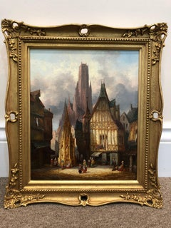 Continental Town Views - A Pair Of Oil Paintings