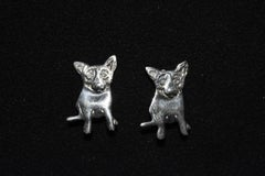 "Blue Dog Sterling Silver Clip-on Earrings with @Rodrigue and ""Sterling"" on back"