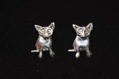 "Blue Dog Sterling Silver Pierced Earrings with @Rodrigue and ""Sterling"" on back"