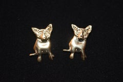 "Blue Dog Sterling/Gold Plated Pierced Earrings w/@Rodrigue & ""Sterling"" on back"