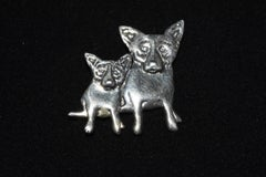 "Blue Dog Sterling Silver Double Dog Pin with @Rodrigue & ""Sterling"" on back"