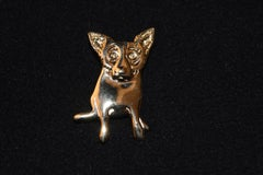 "Blue Dog Sterling/Gold Plated Single Dog Pin with @Rodrigue & ""Sterling"" on back"