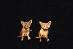 "Blue Dog Sterling/Gold Plated Cufflinks with @Rodrigue & ""Sterling"" on back"