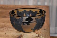 """Blue Dog Cameo Glass Decorative Bowl Rare Limited Edition """"903056"""""""