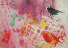 Birds 016 - Mixed Media, Contemporary, Animals, Painting, Acrylic , Abstract
