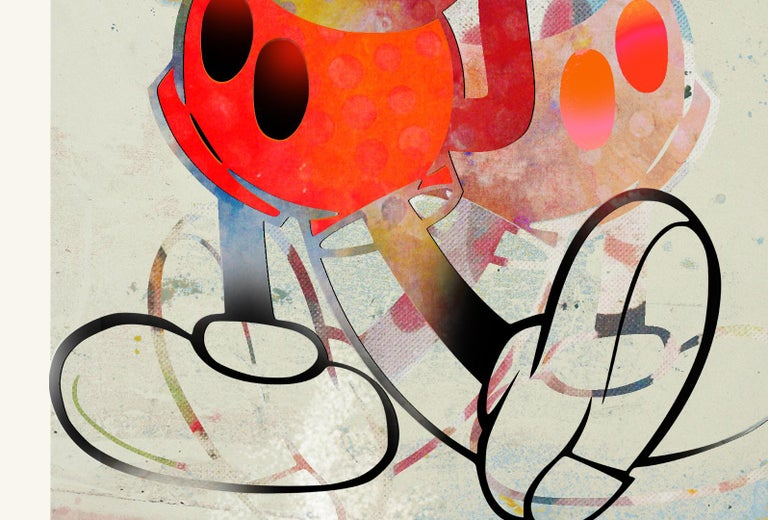 M002-Figurative, Street art, Modern, Pop art, Contemporary, Abstract Mickey Mous - Beige Figurative Print by Francisco Nicolás