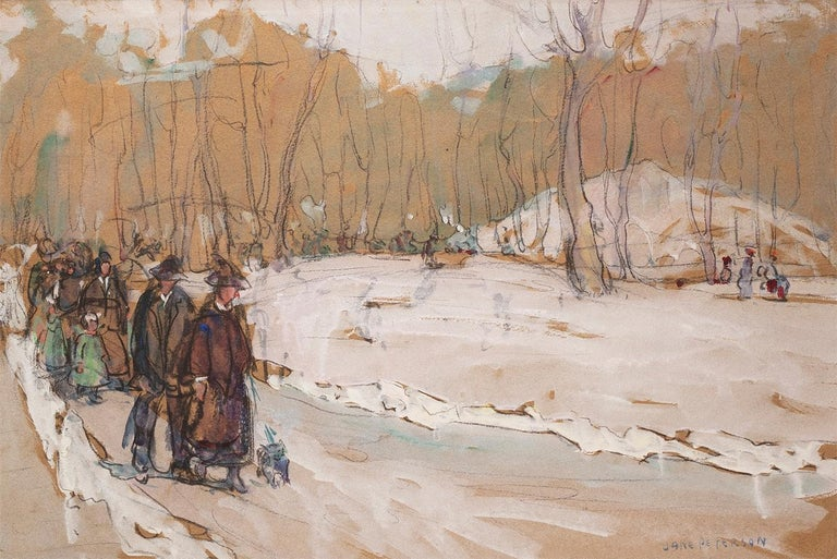 Jane Peterson Landscape Art - Strolling in the Park, Winter