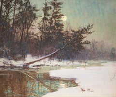 Moonrise Over a Snowy Landscape