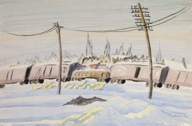 Charles E. Burchfield Landscape Art - (Untitled) The Freight Train