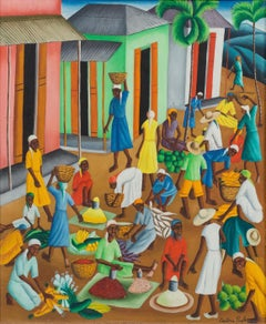 Untitled (Open Air Haitian Market) Haitian Art, Haiti