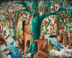 Paradis Terrestre, dated Dimanche 30 Aout 1953, Haitian Art, Haiti