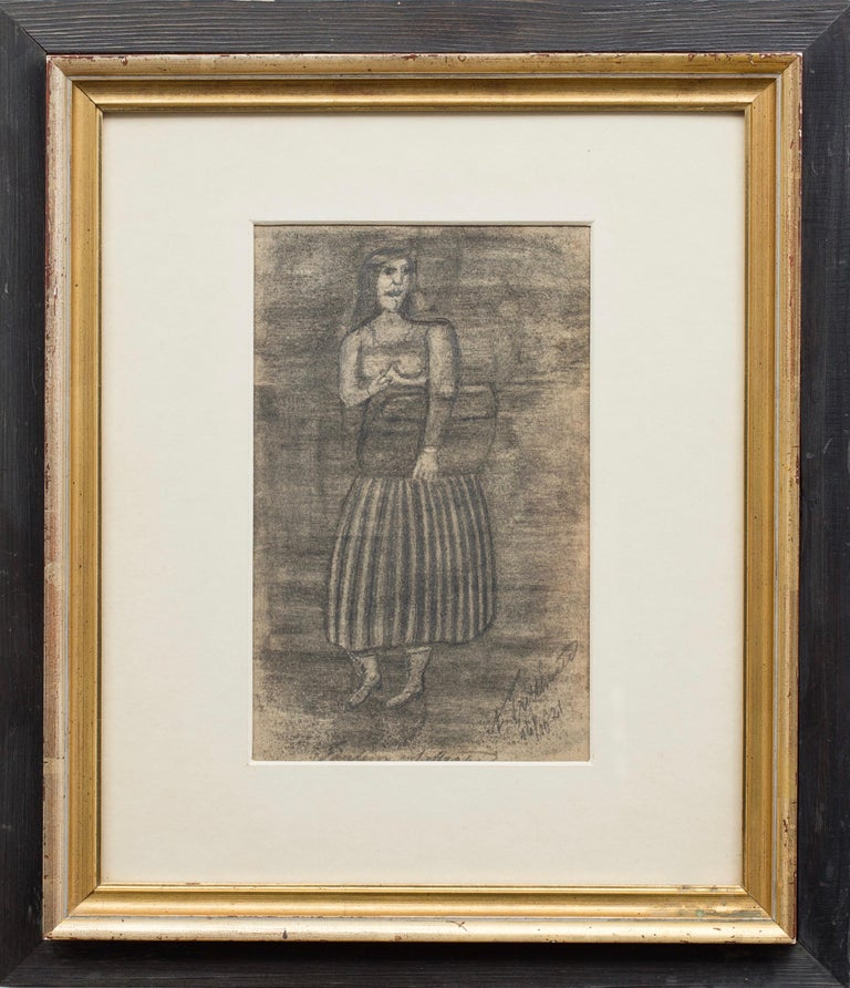 Untitled (Figure Clutching Valise) Self-taught, Outsider Art - Gray Figurative Art by Adalbert Trillhaase